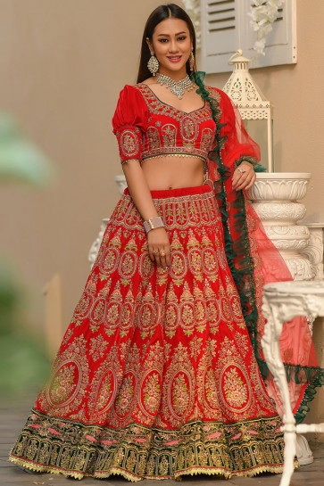 Heavy Designer Velvet Fabric Sky Red Resham And Stone Work Lehenga Choli With Net Dupatta