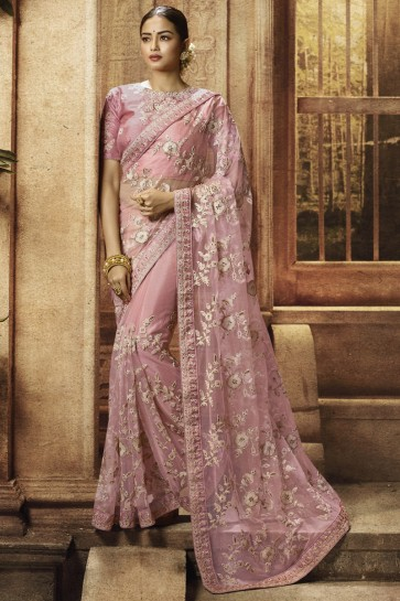 Embroidery And Border Work Light Pink Net Fabric Saree With Silk Blouse