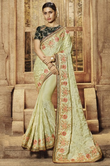 Embroidery And Border Work Designer Satin Fabric Pista Saree With Silk Blouse