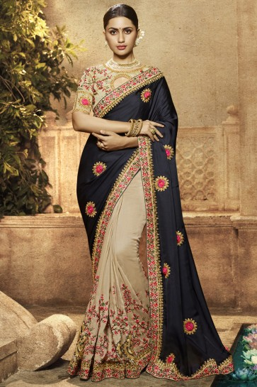Ora Silk Satin Fabric Black And Cream Border Work And Embroidered Saree With Silk Blouse