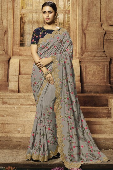Banglori Silk Fabric Grey Embroidery And Border Work Saree With Silk Blouse