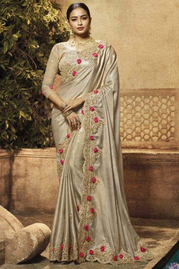 Satin Fabric Sliver Border And Embroidery Work Saree With Brocade Blouse
