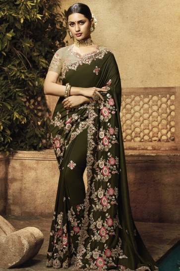 Muslin Fabric Mehendi Green Embroidered And Border Work Saree With Silk Blouse