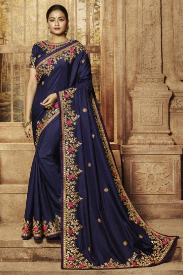 Royal Blue Silk Fabric Border Work And Embroidered Designer Saree And Blouse