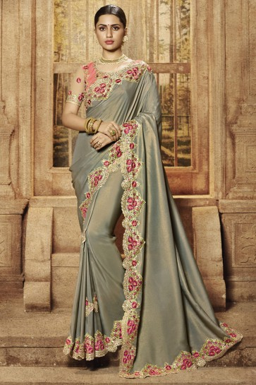 Stunning Pista Silk Fabric Designer Border And Embroidery Work Saree And Blouse