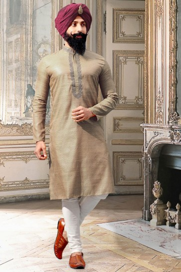 Solid Thread Work Beige Jacquard Fabric Kurta Pajama