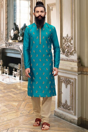 Stunning Teal Thread Work Silk Fabric Kurta Pajama