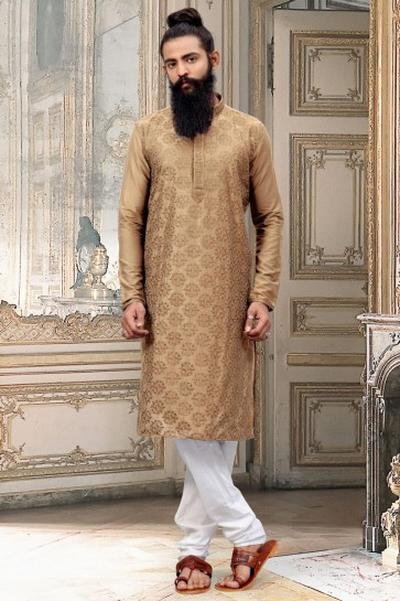 Excellent Dhupion Silk Fabric Beige Thread Work Kurta Pajama