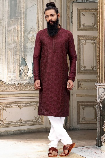 Delightful Dhupion Silk Fabric Maroon Thread Work Kurta Pajama