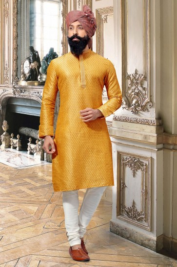 Classic Yellow Thread Work Jacquard Fabric Kurta Pajama