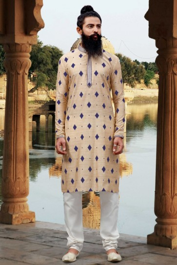 Thread Work Cream Viscose Fabric Mens Kurta Pajama