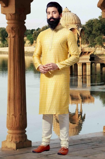 Yellow Thread Work Jacquard Fabric Designer Mens Kurta Pajama
