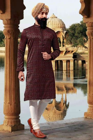 Maroon Thread Work Jacquard Fabric Classic Mens Kurta Pajama