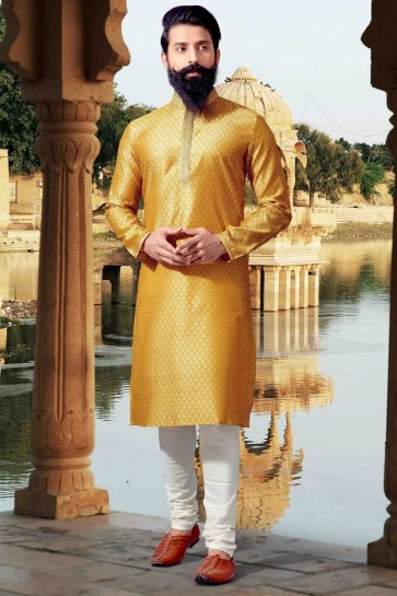 Excellent Jacquard Fabric Thread Work Yellow Mens Kurta Pajama