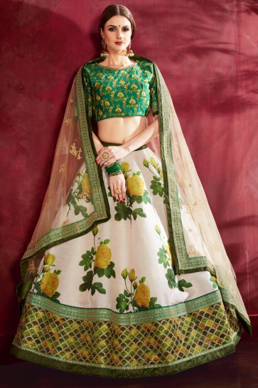 Sequence Embroidery And Zari Work Cream Banglori Silk Lehenga Choli With Net Dupatta