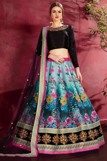 Multi Color Banglori Silk Flare Work And Printed Designer Lehenga Choli With Net Dupatta