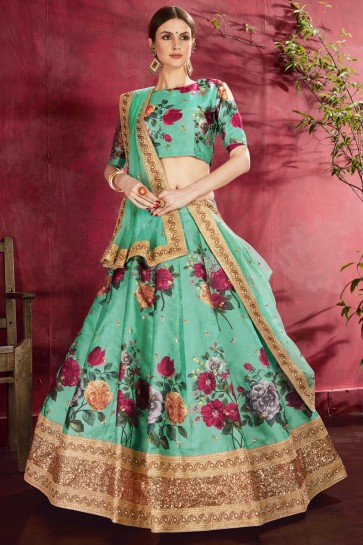Light Green Printed And Sequence Embroidered Banglori Silk Lehenga Choli With Net Dupatta