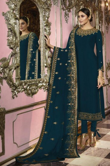 Embroidered Blue Faux Georgette Fabric Salwar Kameez And Lycra Bottom