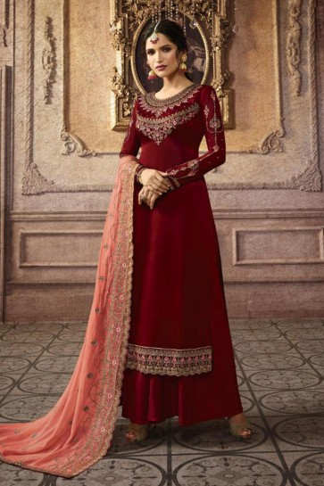 Red Georgette Embroidered Abaya Style Anarkali Suit With Nazmin Dupatta
