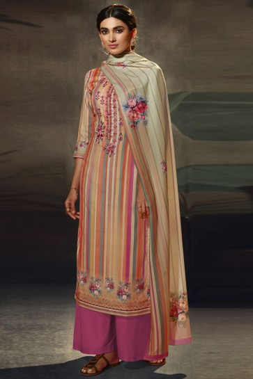Embroidered and  Printed Wool Pashmina Multi Color Plazzo Suit WithWool Pashmina Dupatta