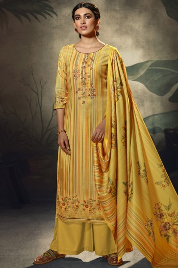 Embroidered and  Printed Wool Pashmina Fabric Yellow Plazzo Suit With Wool Pashmina Dupatta