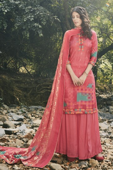 Peach Georgette Satin Embroidered And Digital Print Plazzo Suit And Dupatta