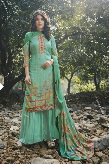 Embroidered And Digital Print Aqua Georgette Satin Fabric Plazzo Suit And Dupatta