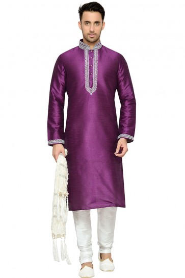 Classic Violet Dhupion Embroidery Worked Designer Kurta