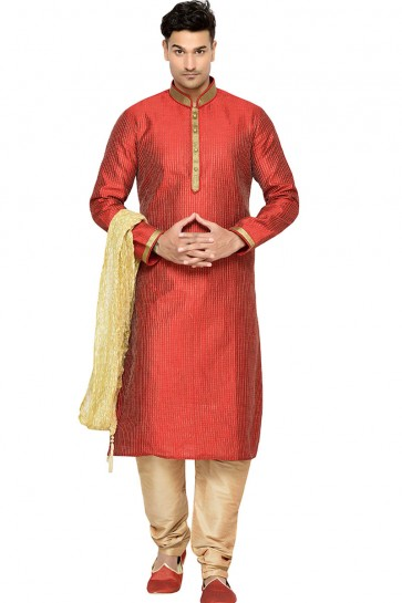 Graceful Red Embroidery Worked Kurta Pajama