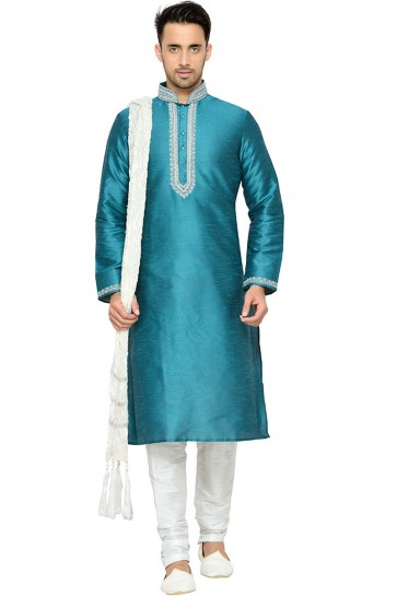 Beautiful Turquoise Function Wear Dhupion Designer Kurta