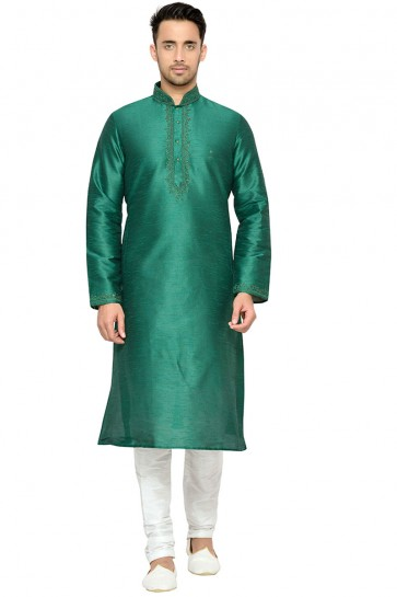 Charming Green Embroidery Worked Designer Kurta