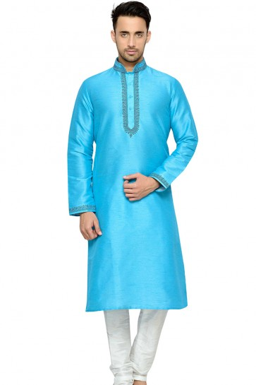 Supreme Sky Blue Embroidery Worked Designer Kurta Pajama