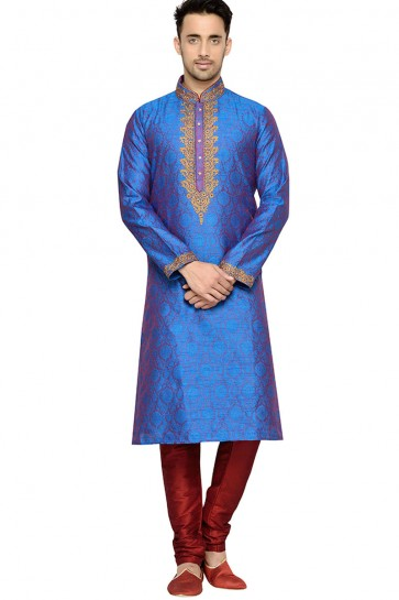 Stylish Blue Function Wear Dhupion Kurta Pajama