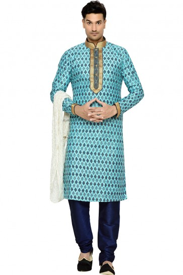 Lovely Sky Blue Function Wear Dhupion Designer Kurta