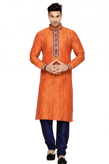 Gorgeous Orange Function Wear Embroidery Worked Designer Kurta