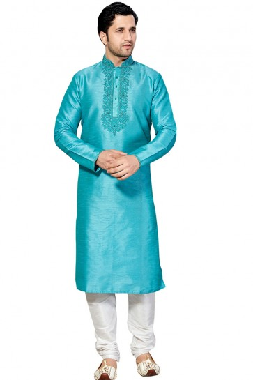 Graceful Sky Blue Dhupion Embroidered Work Kurta Pajama