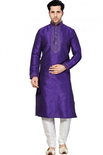 Charming Purple All Function Wear Embroidered Work Designer Kurta Pajama