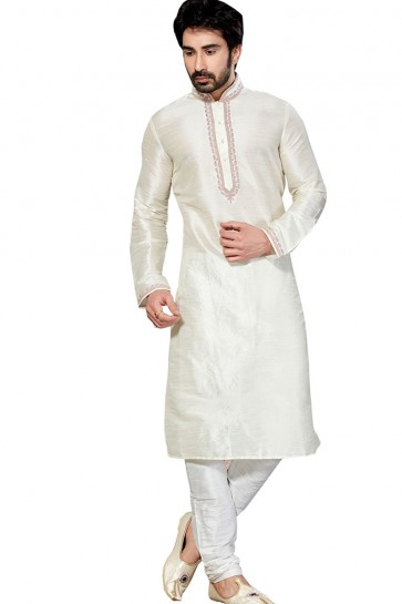 Stylish Cream All Function Wear Dhupion Designer Kurta Pajama