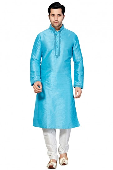 Graceful Sky Blue Dhupion Embroidered Work Designer Kurta