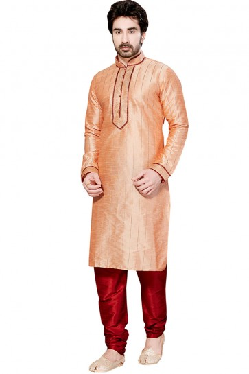 Excellent Peach All Function Wear Embroidered Kurta