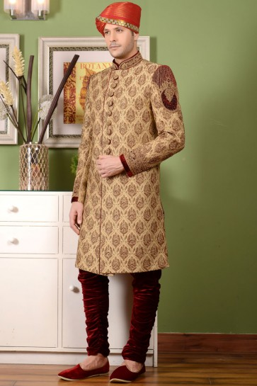 Beautiful Golden All Function Wear Embroidered Work Sherwani