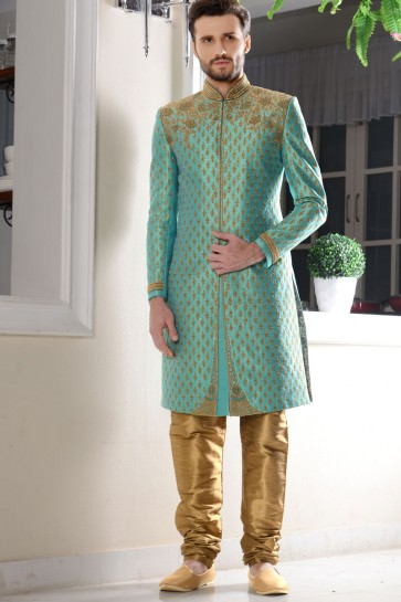 Lovely Light Green Brocade Embroidered Work Designer Sherwani