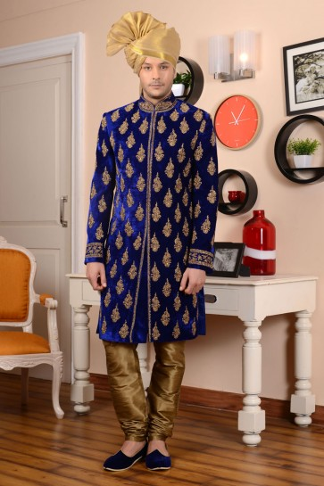 Graceful Blue Velvet  All Function Wear Embroidered Work Sherwani