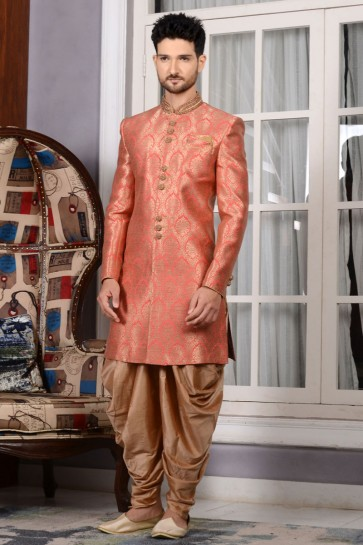 Ultimate Peach All Function Wear Jacquard Sherwani
