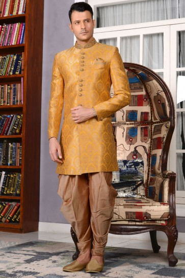 Excellent Yellow Jacquard All Function Wear Embroiered Work Sherwani