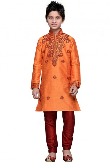 Charming Mustard Art Silk Embroidered Work Designer Kurta