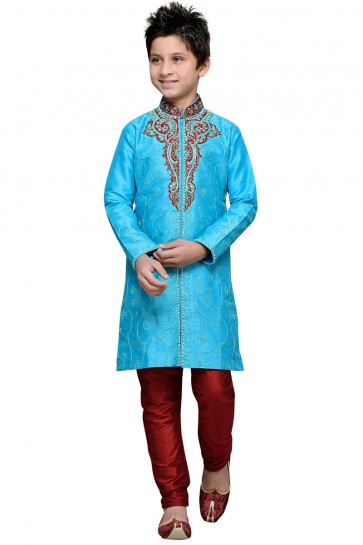 Classic Sky Blue All Function Wear Embroidered Work Designer Kurta