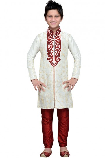 Excellent Cream All Function Wear Embroidered Work Designer Kurta