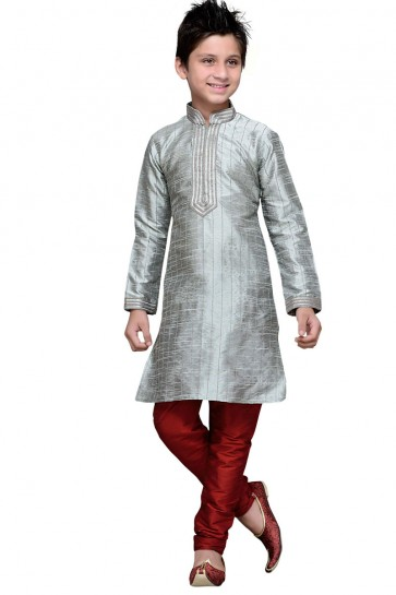 Classic Chikoo Art Silk Embroidered Work Designer Kurta