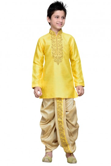 Desirable Yellow All Function Wear Art Silk Designer Kurta